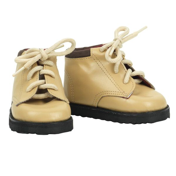 """15"""" brown work boots - tan lace up boots with dark brown soles image number 0"""