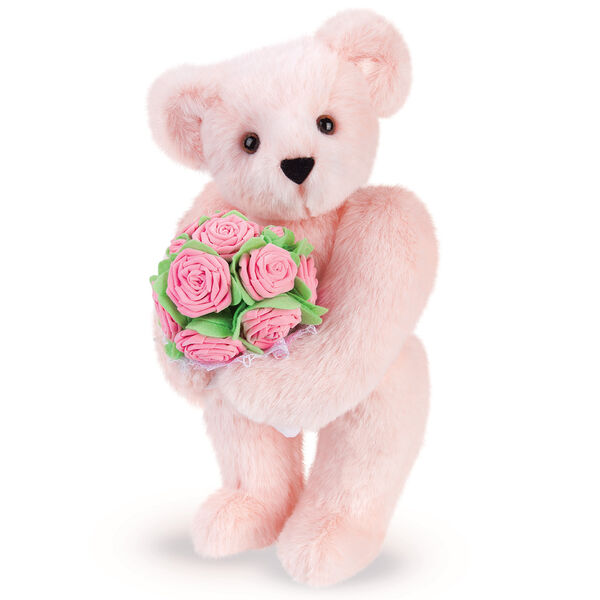 "15"" Pink Rose Bouquet Teddy Bear - Front view of standing jointed bear holding a large pink bouquet wrapped in white satin and lace - Pink fur image number 3"