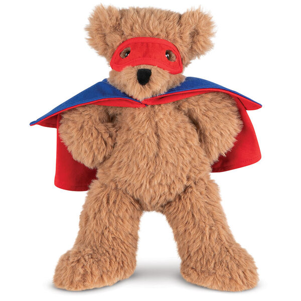 "13"" Super Soft Super Hero Bear - Front view of standing Almond Brown Bear in red Super Hero mask and blue and red cape.  image number 0"