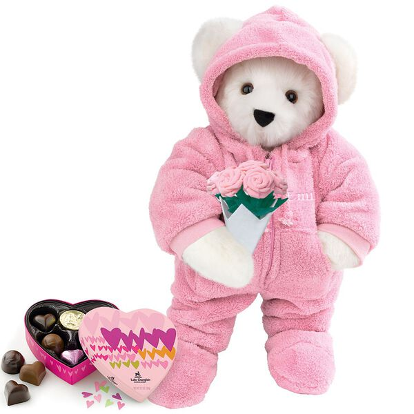 """15"""" Hoodie Footie with Roses and Chocolates - Front view of standing jointed bear dressed in pink hoodie footie, holding pink bouquet of roses and 6 pc. Heart box of chocolates. Left chest personalized with """"Emily"""" in white - Vanilla white fur image number 2"""