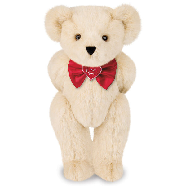 """15"""" """"I Love You"""" Bow Tie Bear - Standing jointed bear dressed in red satin bow tie; """"I Love You""""  is embroidered on red satin heart center - Buttercream brown fur image number 1"""