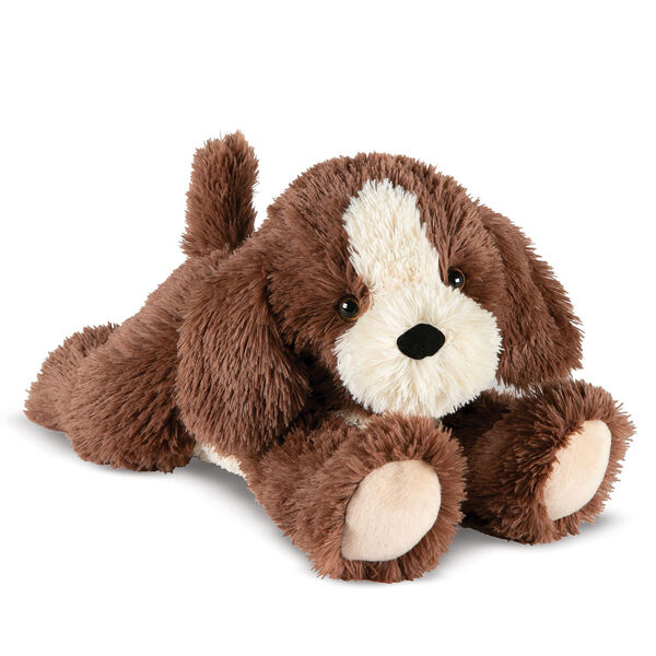 "15"" Belly Puppy Dog - Three quarter view of German Chocolate Bear lying on its belly. Dog has tan muzzle and underside image number 3"
