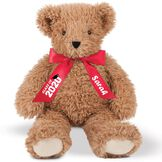 """18"""" Graduation Bear - Front view of seated almond brown super soft bear wearing red satin bow with """"Class of 2020"""" in white lettering with black graduation hat artwork. Bow is personalized with """"Sarah"""" in white lettering image number 1"""