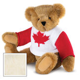 "15"" Maple Leaf Sweater Bear - Three quarter view of seated jointed bear dressed in white knit sweater with red maple leaf on front and red sleeves  - Buttercream brown fur image number 1"