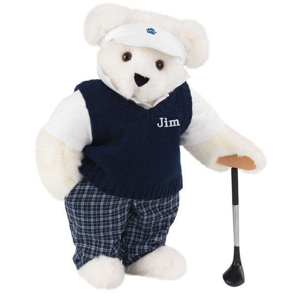 """15"""" Golfer Bear - Standing jointed bear in blue plaid pants, white polo shirt, dark blue vest and white visor holding a golf club - Vanilla image number 2"""