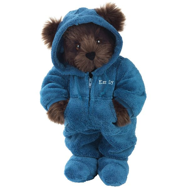 "15"" Hoodie-Footie Bear Blue - Front view of standing jointed bear dressed in blue hoodie footie personalized with ""Emily"" in white on left chest - Espresso brown fur image number 7"