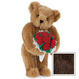 """15"""" Red Rose Bouquet Bear - Front view of standing jointed bear holding a large red bouquet wrapped in white satin and lace - Espresso fur image number 7"""