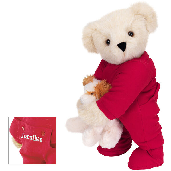 """15"""" Christmas Bedtime Bear with Puppy - Standing jointed bear dressed in white red dropseat onesie with 6"""" tan puppy. Inset image shows """"Jonathan"""" personalized on rear flap of PJ in white - Buttercream brown fur image number 1"""