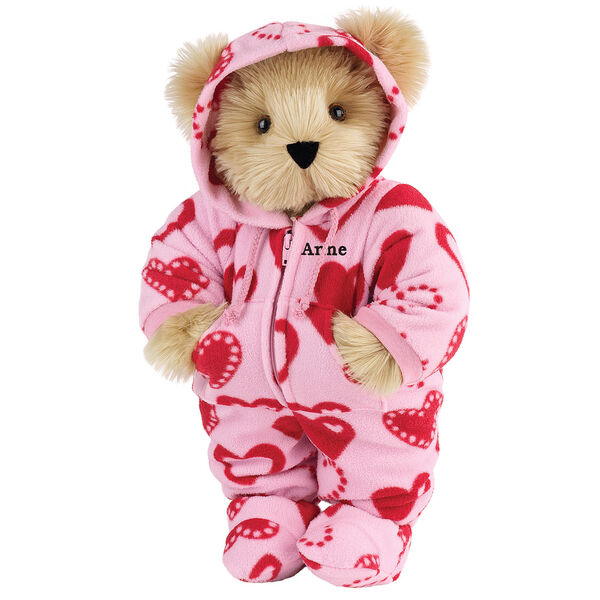 "15"" Hoodie-Footie Sweetheart Bear - Front view of standing jointed bear dressed in pink hoodie footie with red heart patternpersonalized with ""Anne"" in black on left chest - Maple brown fur image number 4"