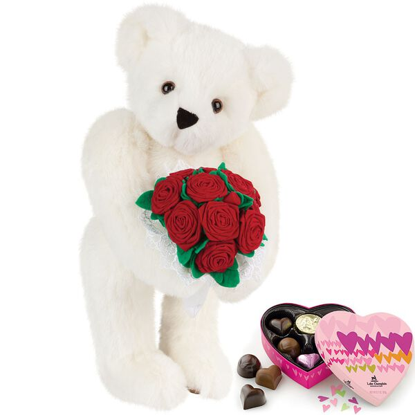 """15"""" Red Rose Bouquet Bear and Chocolates - Front view of standing jointed bear holding a large red bouquet wrapped in white satin and lace  and 6 pc. heart box of chocolates - Vanilla white fur image number 3"""