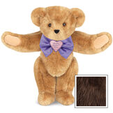 """15"""" Happy Mother's Day Bow Tie Bear - Standing jointed bear dressed in purple satin tie; """"Happy Mother's Day"""" is embroidered on pink satin heart center - Espresso image number 7"""
