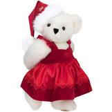 """15"""" Christmas Sweetheart Bear - Standing jointed bear dressed in white red velvet dress with heart lace trim and red velvet santa hat with white fur trim. Hat is personalized with """"Jan"""" above the fur  - Vanilla white fur image number 2"""