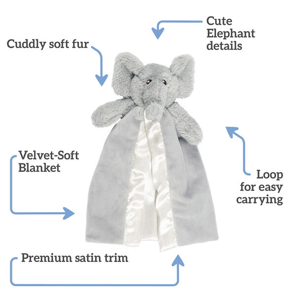 """Elephant Buddy Blanket - Front view of gray elephant blanket, text says,""""Cuddly Soft Fur; Cute Elephant Details; Loop for easy carrying; Premium satin trim; Velvety-Soft blanket"""" image number 1"""