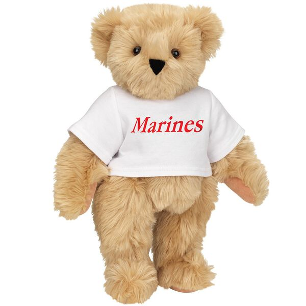 "15"" Marines T-Shirt Bear - Front view of standing jointed bear dressed in white t-shirt with red graphic that says, ""Marines"" - Maple brown fur image number 5"