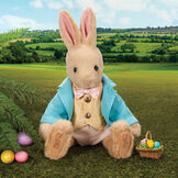 """16"""" Limited Edition Easter Bunny - Front view of jointed seated Buttercream Rabbit in a turquoise jacket, yellow vest with bow tie, tan knickers, and an Easter basket with eggs. Rabbit is in an outdoor scene.  image number 4"""