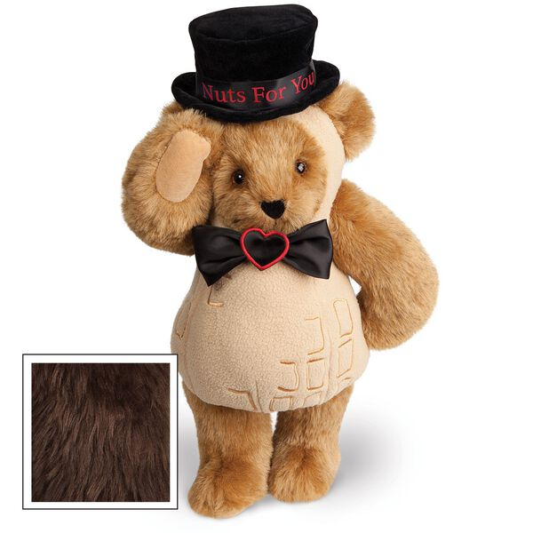 """15"""" Nuts for You - Front view of standing jointed bear dressed in a tan peanut costume with black bow with black top hat that says """"Nuts for You"""" in red on black satin band - Espresso brown fur image number 5"""