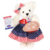 """15"""" Mom for President - Front view of standing jointed bear in a red, white and blue stars and stripes dress with matching head bow, with a """"Mom for President"""" pin holding an apple pie and a voting ballot - Vanilla white fur image number 2"""