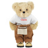 """15"""" Handy Bear - Front view of standing jointed bear dressed in tan work pants, white t-shirt and tan tool belt, personalized with """"Chris"""" on front of t-shirt in red lettering - Maple brown fur image number 4"""