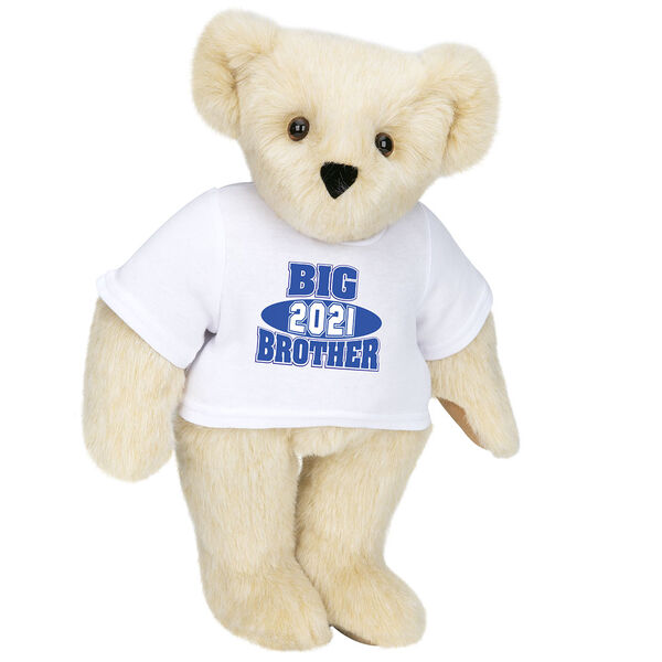 """15"""" 2021 Big Brother T-Shirt Bear - Standing jointed bear dressed in a white t-shirt with royal blue and white artwork that says, """"Big Brother 2021"""" on the front of the shirt - Buttercream image number 1"""