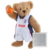 """15"""" Basketball Bear - Standing jointed bear dressed in white jersey and shorts with blue and red trim. Bear comes with orange basketball. Center front of shirt is personalized with """"Ryan"""" in red lettering - Gray image number 4"""