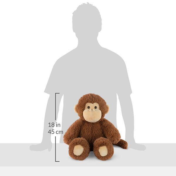 "18"" Oh So Soft Monkey - Front view of seated 18"" cinnamon brown monkey with tail and tan ears, muzzle and foot pads measuring 18 in or 45 cm tall when standing image number 4"