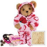 """15"""" Sweetheart Hoodie-Footie Bear with Red Roses and Chocolates - Standing jointed bear dressed in pink and red heart hoodie footie with rose bouquet and 6 pc. chocolates. Personalized with """"Anne"""" in black on left chest - Maple image number 6"""