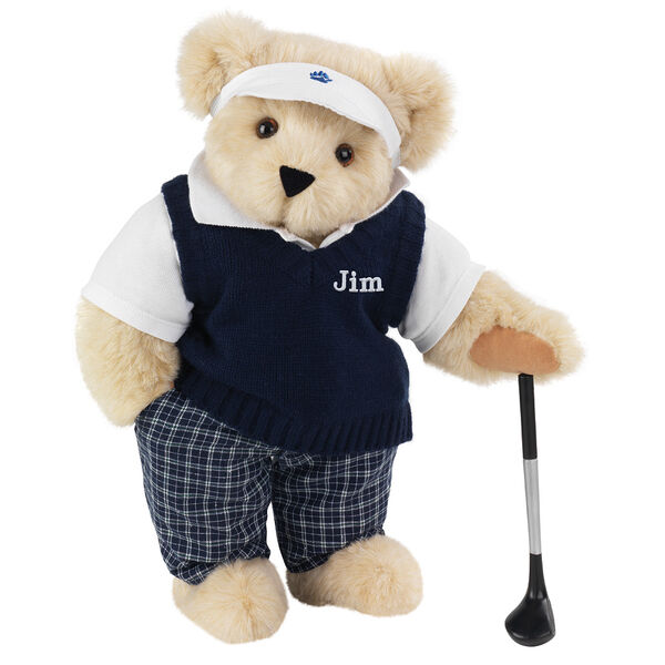 """15"""" Golfer Bear - Standing jointed bear in blue plaid pants, white polo shirt, dark blue vest and white visor holding a golf club - Buttercream image number 1"""