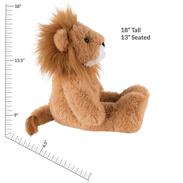"18"" Oh So Soft Lion - Front view of seated 18"" brown lion with white muzzle and golden brown mane measuring 18 in or 41 cm tall when standing image number 6"