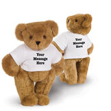 """15"""" Say Anything T-Shirt Bear - Front view of standing jointed bear dressed in white t-shirt with black graphic that says, """"Your message here"""" on the front and the back of the shirt - Honey brown fur image number 0"""