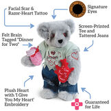 """15"""" Zombie Love Bear - Front view of standing jointed bear wearing torn t-shirt and jeanstext reads, """"Signature Eyes; Screen Printed Tee and Tattered Jeans; Guaranteed For Life; Plush Heart; Felt Brain, Facial Scar and Razor Heart Tattoo"""" image number 1"""