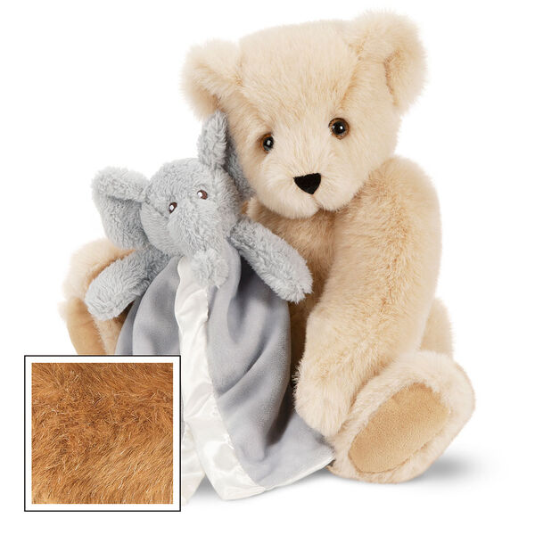 "15"" Cuddle Buddies Gift Set with Elephant Blanket - 15"" jointed seated bear with gray elephant blanket - Honey image number 1"