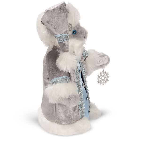 """15"""" Limited Edition Snowflake Santa - Side view of gray standing bear in a silver and fur long coat with crystal snowflake image number 3"""