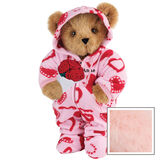 """15"""" Sweetheart Hoodie-Footie Bear with Red Roses - Front view of standing jointed bear dressed in pink hoodie footie with red heart pattern holding a bouquet of red roses, personalized with """"Anne"""" in black on left chest - Pink fur image number 5"""