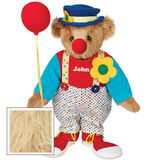 "15"" Clown Bear - Standing jointed bear dressed in dot pants with suspenders and daisy, red and blue shirt, blue hat, red clown shoes, and holds  red fabric balloon made personalized with ""John"" in white on shirt's center front - Maple brown fur image number 6"