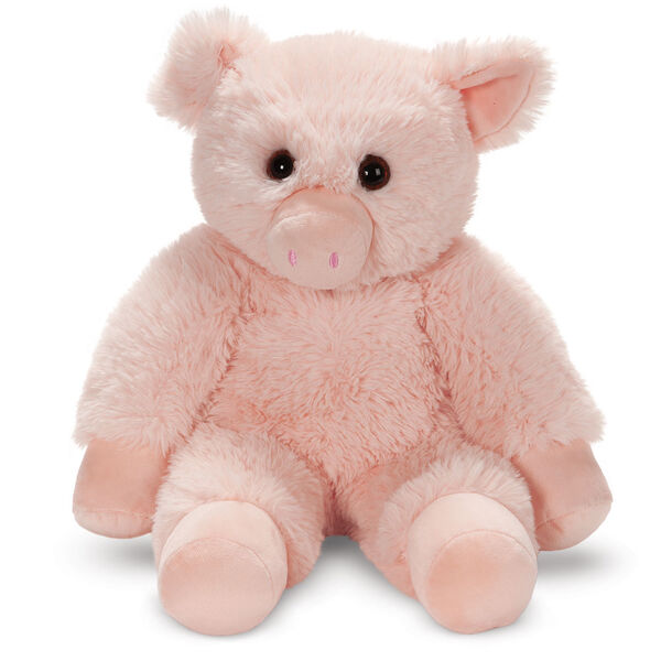 """18"""" Oh So Soft Pig - Front view of seated soft plush pink pig with brown eyes and right ear folded down image number 4"""