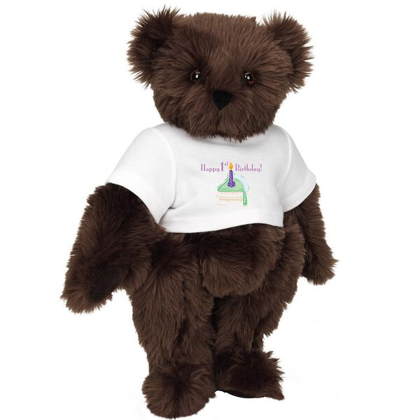 """15"""" 1st Birthday T-Shirt Bear- Vanilla Cake - Standing jointed bear dressed in a white t-shirt with a slice of vanilla cake artwork that says, """"Happy 1st Birthday!"""" on the front of the shirt - Espresso brown fur image number 7"""