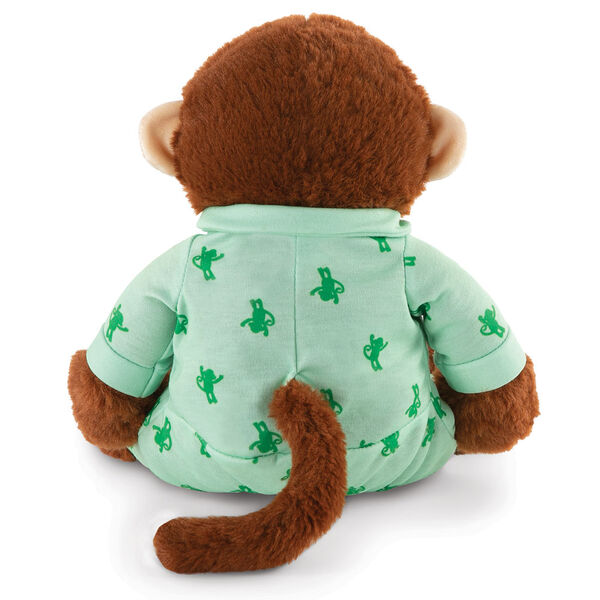 """13"""" PJ Pal Monkey- Back view of seated cinnamon brown Monkey with tan muzzle in green cotton onesie pajamas with Monkey print  image number 6"""