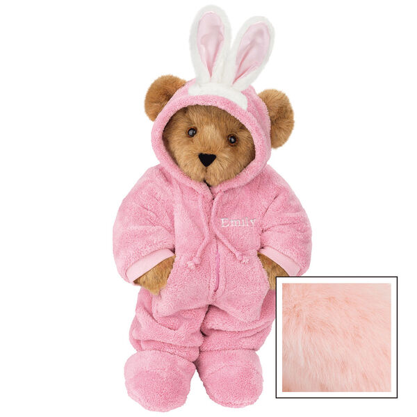 """15"""" Hoodie-Footie Bunny Bear - Front view of standing jointed bear dressed in pink hoodie footie and bunny ears personalized with """"Emily"""" in white on left chest - Pink image number 6"""