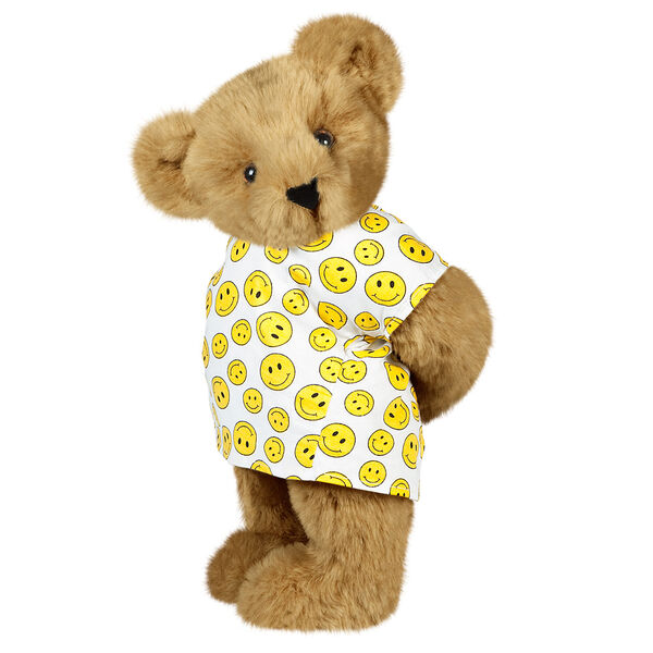 """15"""" Get Well Bear with bandage - Three quarter view of standing jointed bear dressed in a white johnny with yellow happy faces - Honey brown fur image number 0"""