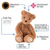 """15"""" Buddy Bear - Slim honey colored bear with text that says, """"Signature Eyes; Guaranteed for Life; Long Limbs and Slender Body -for easy carrying-; Weighted Paws; Super Soft Fur; and Tush Tag: This Bear Belongs to - Your Name"""".  image number 7"""