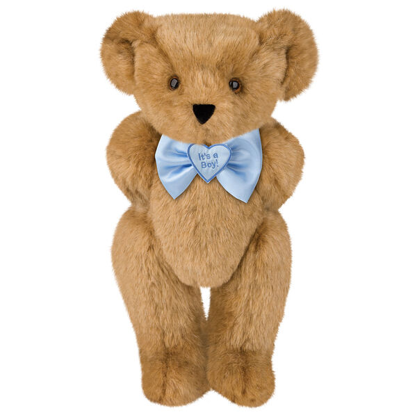 "15"" ""It's a Boy!"" Bow Tie Bear - Standing jointed bear dressed in light blue satin bow tie with ""It's a Boy!"" is embroidered on heart center - Honey brown fur image number 0"