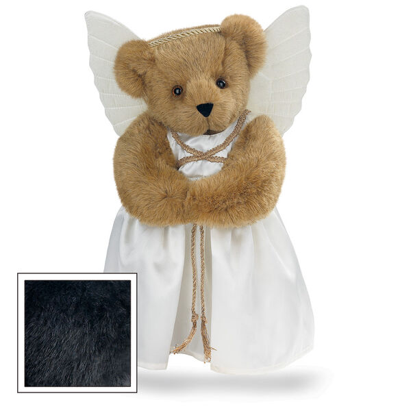 "15"" Angel Bear - Standing jointed bear in a ivory satin dress with satin angel wings and gold metallic halo - Black fur image number 3"