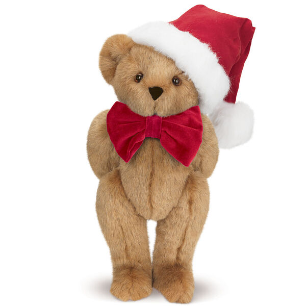 """15"""" Christmas Classic Bear - Standing jointed bear dressed in white red velvet bow tie with red velvet santa hat with white fur trim - Honey brown fur image number 5"""