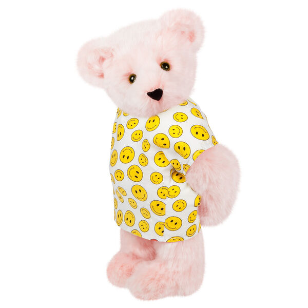 """15"""" Get Well Bear - Three quarter view of standing jointed bear dressed in a white johnny with yellow happy faces - Pink fur image number 4"""