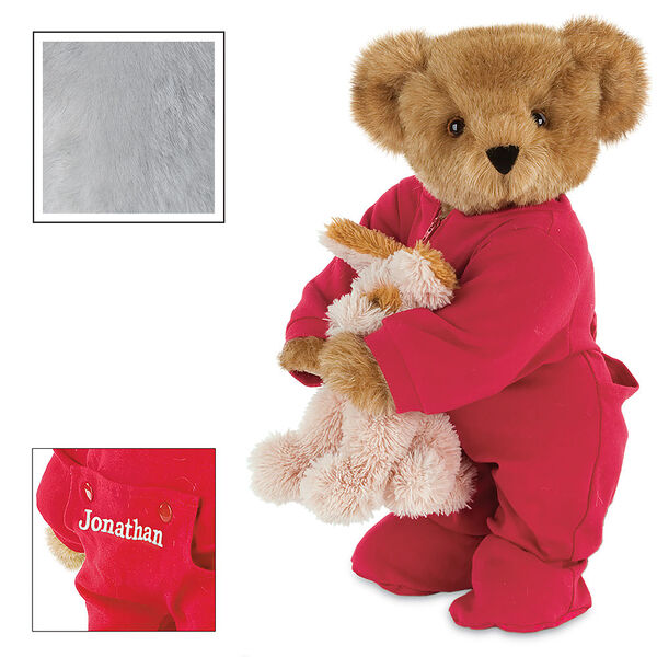 """15"""" Christmas Bedtime Bear with Puppy - Standing jointed bear dressed in white red dropseat onesie with 6"""" tan puppy. Inset image shows """"Jonathan"""" personalized on rear flap of PJ in white - Gray image number 4"""