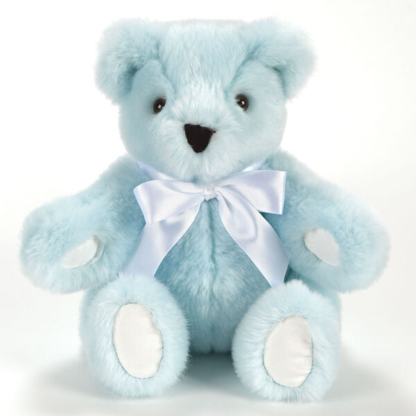 """11"""" New Baby Bear, Blue: Seated light blue bear with white paw pads, brown eyes and white satin bow around neck image number 0"""