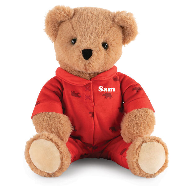 "13"" PJ Pal Bear - Front view of seated light brown Bear in red cotton onesie pajamas with grizzly bear print personalized with ""Sam"" in white lettering image number 0"