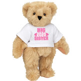 """15"""" 2020 Big Sister T-Shirt Bear - Standing jointed bear dressed in a white t-shirt with bright pink and white artwork that says, """"Big Sister 2020"""" on the front of the shirt - Maple brown fur image number 4"""