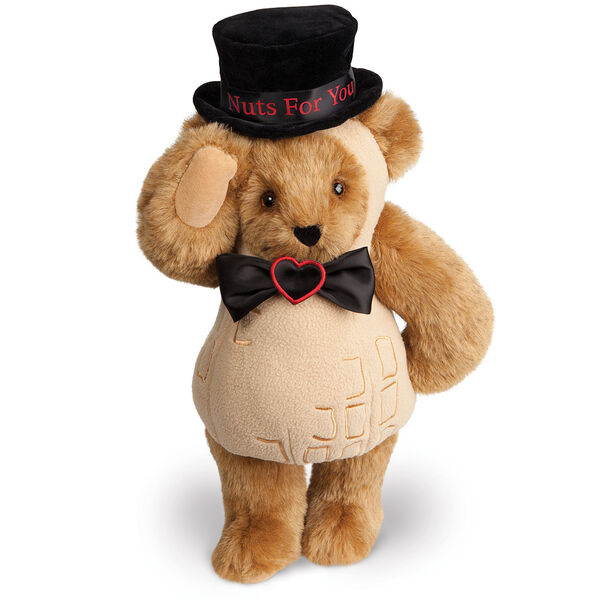"""15"""" Nuts for You - Front view of standing jointed bear dressed in a tan peanut costume with black bow with black top hat that says """"Nuts for You"""" in red on black satin band - Honey brown fur image number 0"""