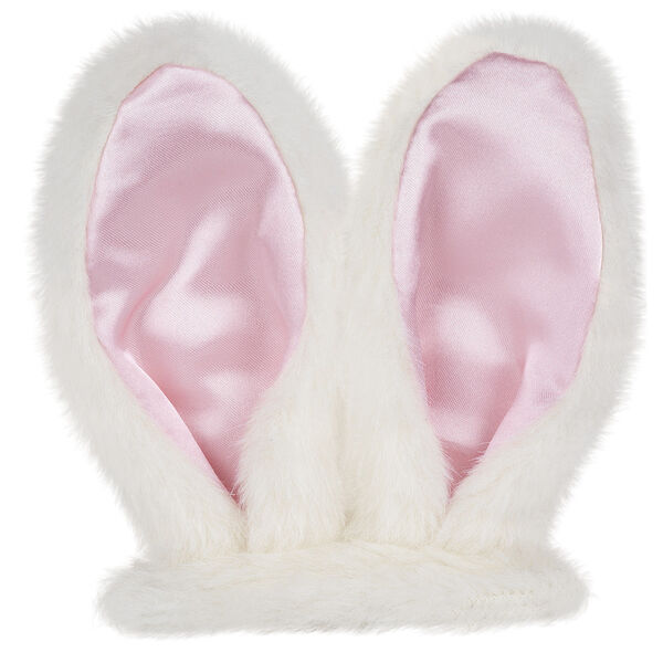"""15"""" Bunny Ears - White fur bunny ears with pink satin linings and ear elastics image number 0"""